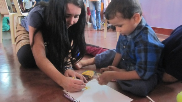 Colouring with children at the Home of Faith