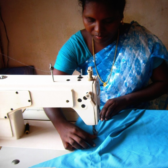 A participant of the Family Development Program from Marthandom, Tamil Nadu co-owns a tailoring business with her husband, which they named after their daughter.