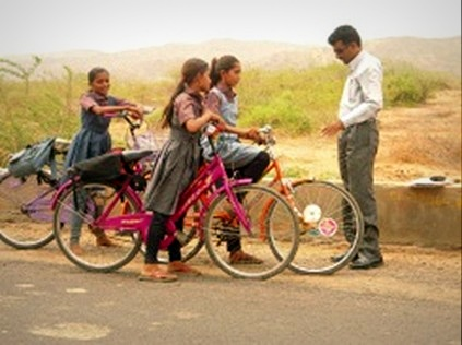 Girls ride to school